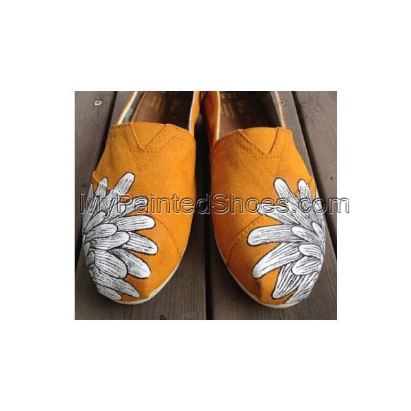 Flower shoes Chrysanthemum Natural Shoes Slip-on Painted Canvas