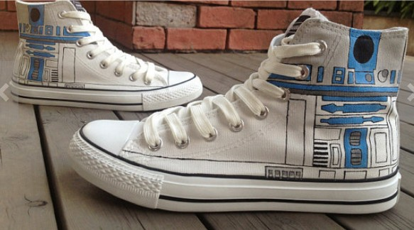 Star Wars R2D2 Shoes High-top Painted Canvas Shoes-1