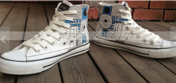 Star Wars R2D2 Shoes High-top Painted Canvas Shoes-2