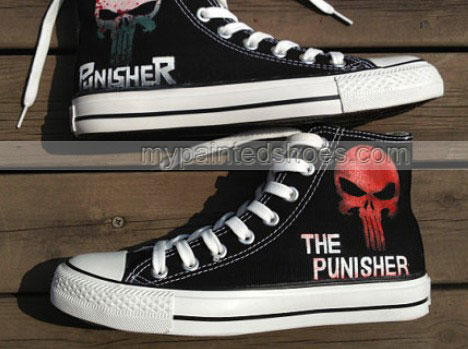 The punisher Shoes punisher skull Shoes High-top Painted Canvas -2