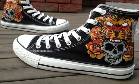 Christmas Rock Skull and Tiger Hand Painted Shoes High-top Paint-1