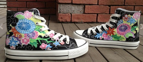 Passion Flower Vine High Top Hand Painted Shoes-1