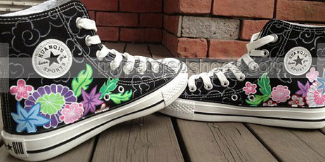 Passion Flower Vine High Top Hand Painted Shoes-2
