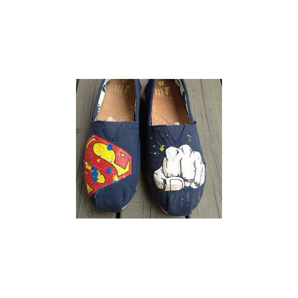 2013 New Style Mens Superman Man of Steel and Painted Shoes Cust