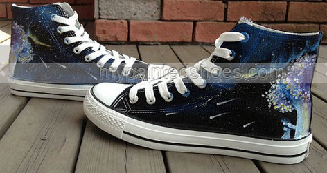 Galaxy shoes High Top Hand Painted Shoes-2