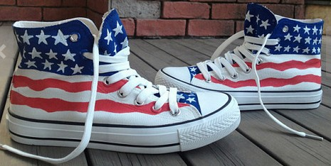 American Flag Shoes US Flag Shoes High-top Painted Canvas Shoes-1