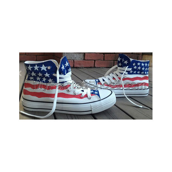 American Flag Shoes US Flag Shoes High-top Painted Canvas Shoes