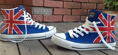 UK Flag High-top Painted Canvas Shoes-1