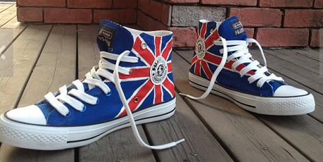 UK Flag High-top Painted Canvas Shoes-2
