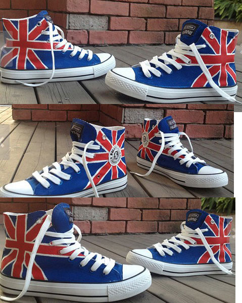 UK Flag High-top Painted Canvas Shoes