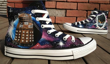 Christmas Galaxy Doctor Who Shoes High-top Painted Canvas Shoes-1