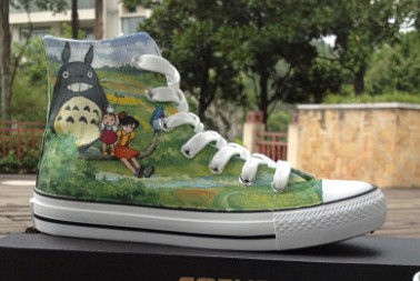 Totoro Shoes My Neighbor Totoro Cartoon Shoes Hand Painted High -1
