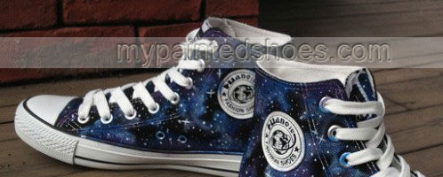 Blue Galaxy High Top Sneakers Hand Painted Canvas Shoes for Sale-2