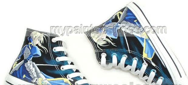 Saber Fate/stay Night Anime Sneakers Hand Painted Canvas Shoes f-2
