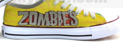 Plants vs. Zombies Hand Painted 2013 New Fashion Low Top Canvas -1