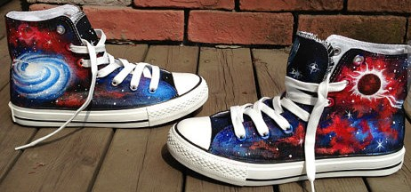 Galaxy Interstellar High Top Canvas Shoes Hand Painted Sneakers -1