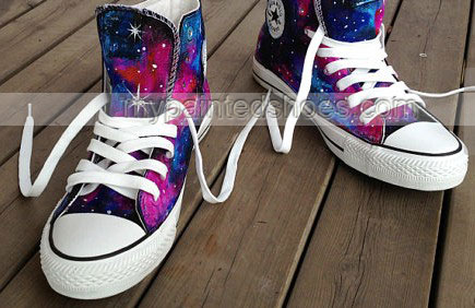 Galaxy Interstellar High Top Canvas Shoes Hand Painted Sneakers -2