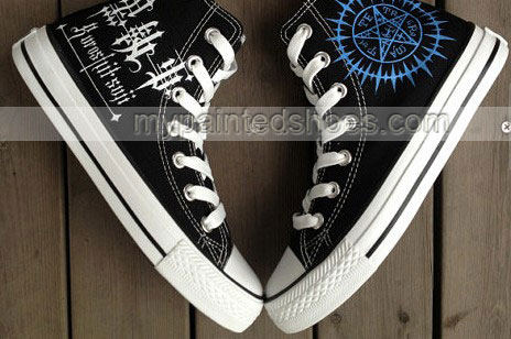 anime shoes Black Butler Shoes hand painted sneakers-2