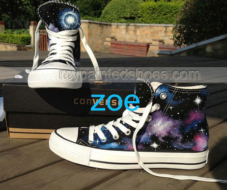 Galaxy Sneakers Hand Painted High Top Galaxy Shoes-2