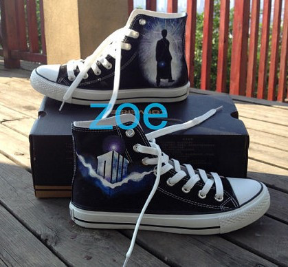 Doctor Who Shoes Doctor Who High Top Hand Painted Shoes Custom S-1