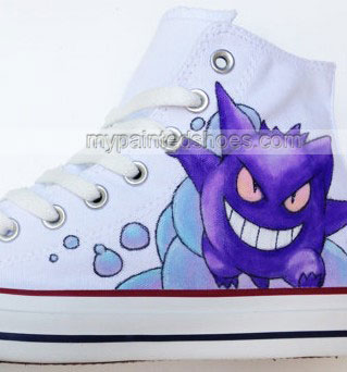 Gengar Pokemon Shoes Pokemon High-top Painted Canvas Shoes-2