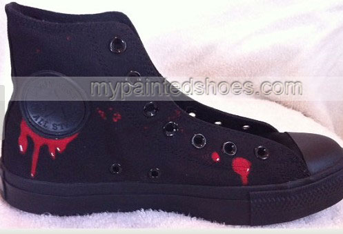 The Walking Dead Bloody Zombie Custom High-top Painted Canvas Sh-2