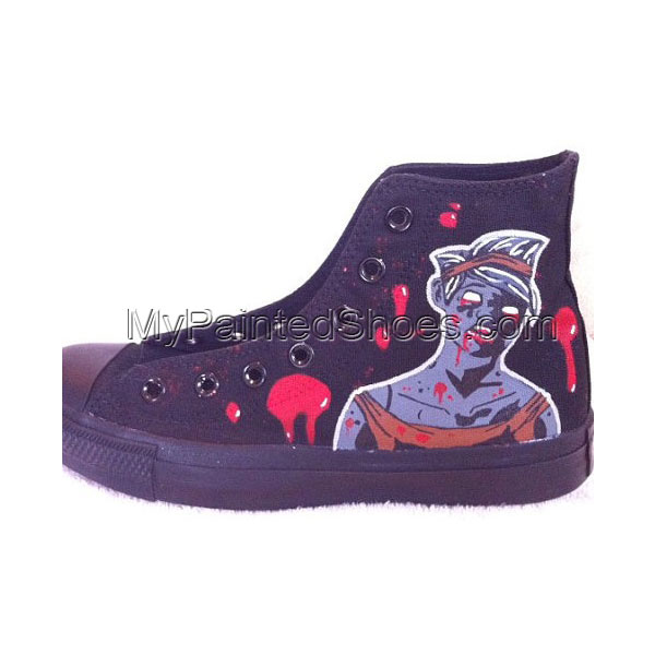 The Walking Dead Bloody Zombie Custom High-top Painted Canvas Sh