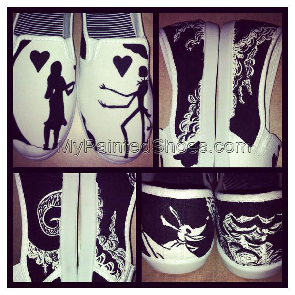 Nightmare Before Christmas Painted Shoes Slip-on Painted Canvas