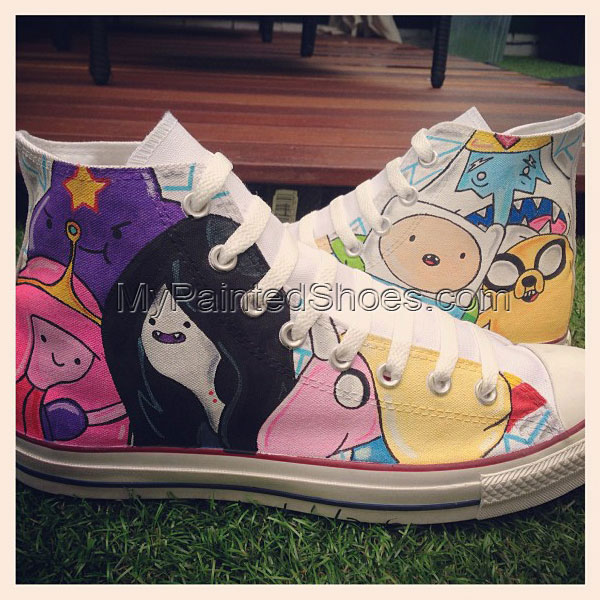 Adventure Time Custom High-top Painted Canvas Shoes