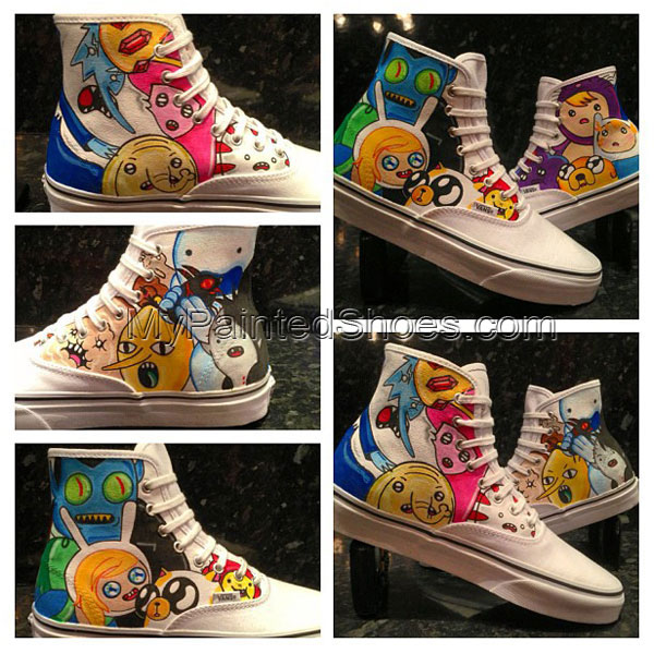 Adventure Time Hi-Top Custom Painted Canvas Shoes