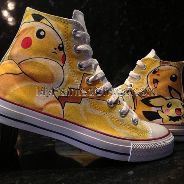 Pikachu Raichu Pichu Custom High-top Painted Canvas Shoes