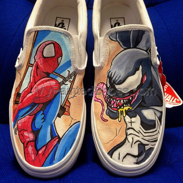 8c9f417ff2647c Spider-man Vs Venom Custom Slip-on Painted Canvas Shoes