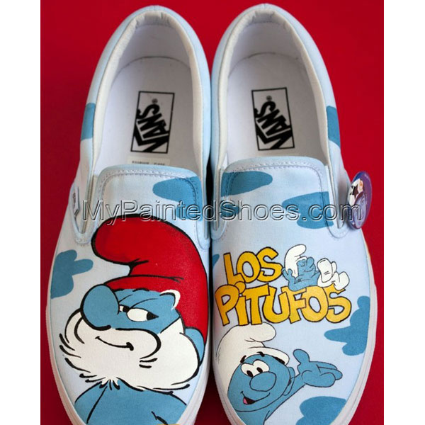 Los Pitufos Shoes Los Pitufos Hand Painted Canvas Shoes Los Pitu