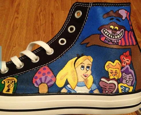 Alice in Wonderland Shoes Alice in Wonderland Hand Painted Shoes-1