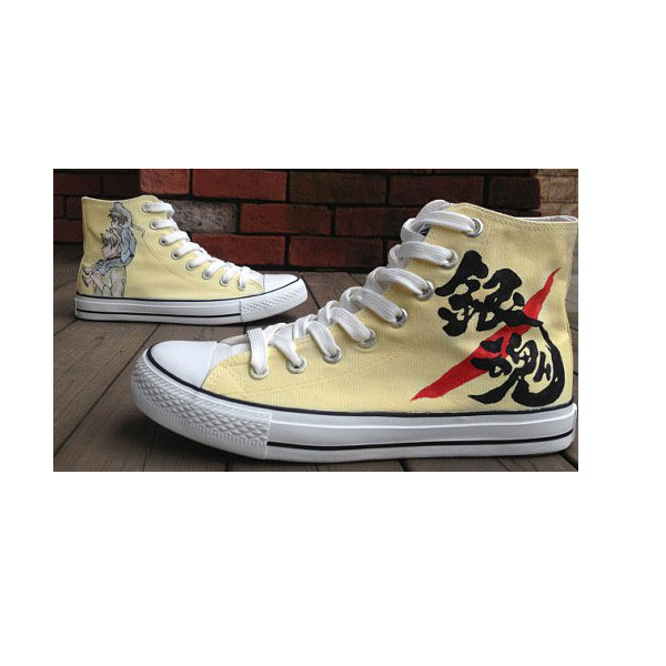 GinTama Studio Hand Painted Shoes High-top Painted Canvas Shoes-1