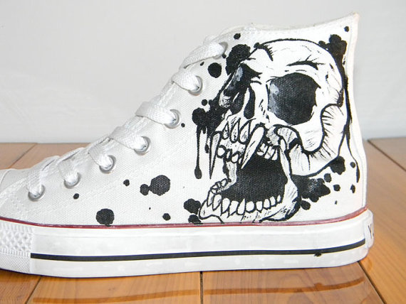 Cool Fashion Skull Design Custom Chuck Taylors Shoes-3