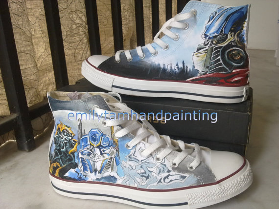 Transformers Sneakers High-top Painted Canvas Shoes-1
