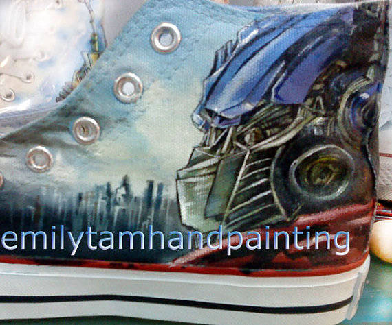 Transformers Sneakers High-top Painted Canvas Shoes-3