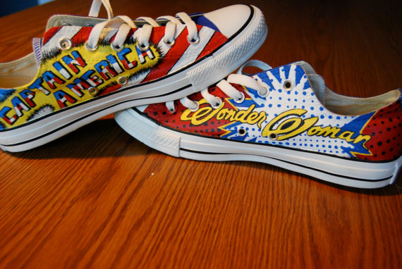 Wonder Woman Captain America Hand Painted Shoes-2