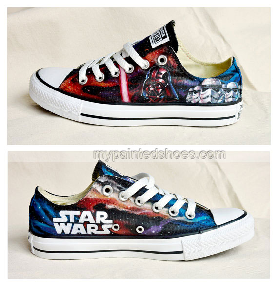 Custom Star Wars Hand Painted Shoes Custom Low-top Painted Canva-3