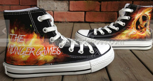 Mockingjay Inspire Hunger Game Hand Painted Shoes-2