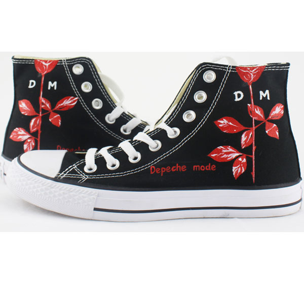 Depeche Mode Rose High-top Painted Canvas Shoes-2