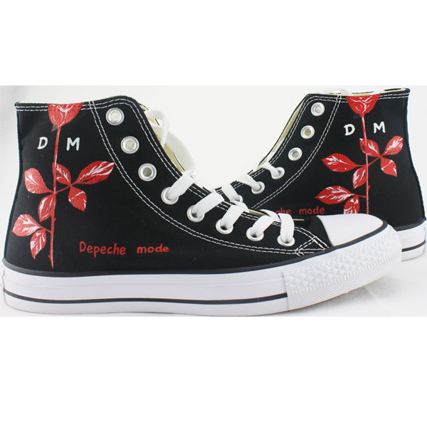 Depeche Mode Rose High-top Painted Canvas Shoes