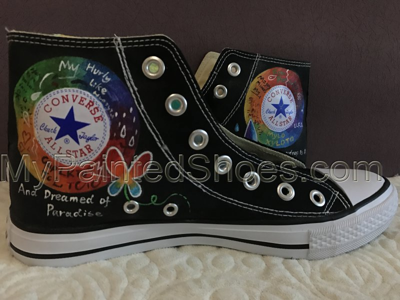 Coldplay Mylo Xyloto High-top Painted Canvas Shoes-3
