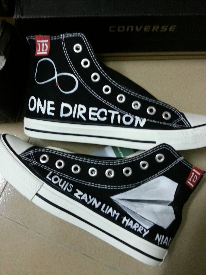 One Direction Low Top Painted Canvas Shoes-1
