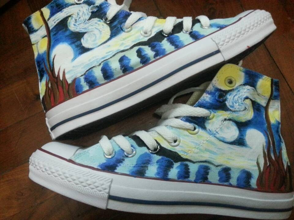 Starry Night High-top Painted Canvas Shoes-1