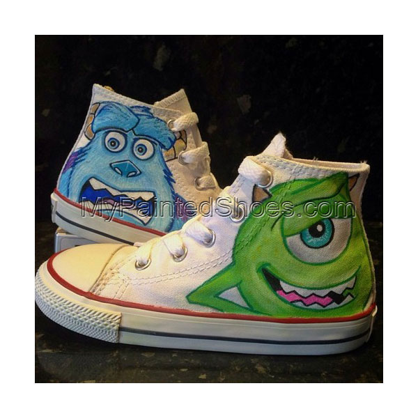 Monsters Inc Custom High-top Painted Canvas Shoes