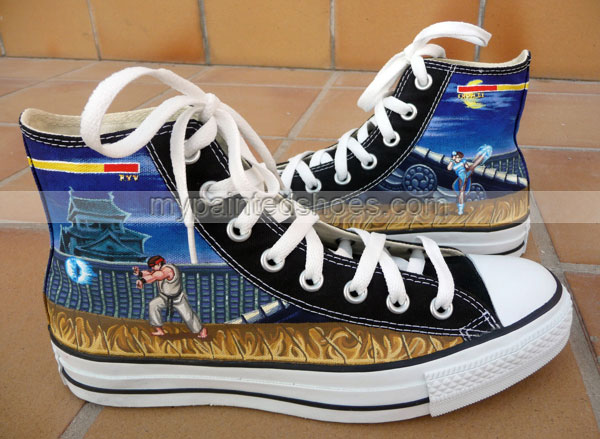 Street Fighter shoes High-top Painted Canvas Shoes-2