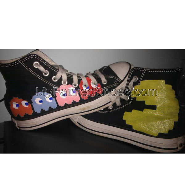 Custom Canvas Shoes Pacman High-top Painted Canvas Shoes