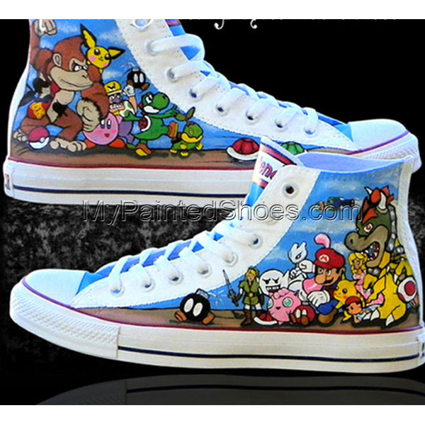 Nintendo Custom Sneakers Custom High-top Painted Canvas Shoes